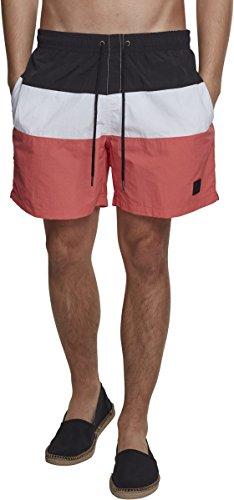 Urban Classics Herren Schwimmshirt Color Block Swimshorts, Mehrfarbig (Coral/Blk/Wht 01321 Preisvergleich