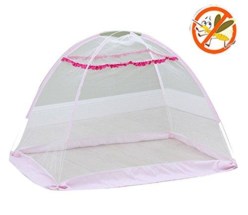 Mosquito Net Baby Travel Bed Crib Pop Up Tienda de campaña, accesorios portátiles y plegables para ropa de cama infantil, Travel Kids Tienda de campaña, sin cubierta inferior, instalación gratuita- 140 × 90 × 80 CM, rosa