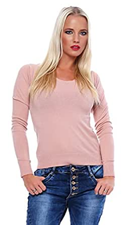 10200 Fashion4Young Damen Langarm-Pullover mit Spitze Pulli verfügbar in 6 Farben 2 Größen (S/M 34/36, Apricot)