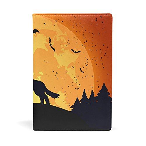 EZIOLY Halloween-Hintergrund mit Wolf, dehnbar, passend für die meisten Hardcover-Lehrbücher bis 22,6 x 14,5 cm, klebstofffreier Stoff Schulbuchschutz. Einfach anzubringen. Wash & Re-Use
