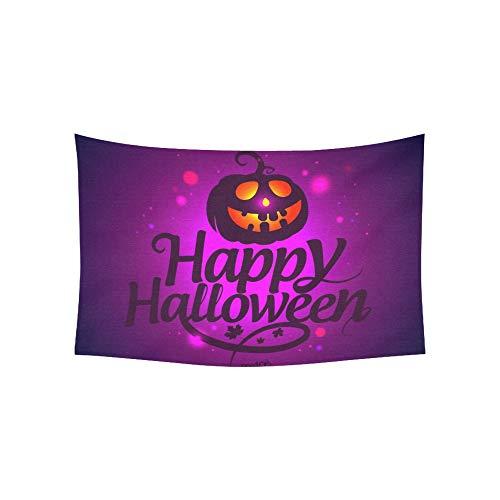 JOCHUAN Tapisserie Happy Halloween Karte Kürbis Wandteppiche Wandbehang Blume Psychedelic Tapisserie Wandbehang Indian Wohnheim Dekor für Wohnzimmer Schlafzimmer 60 X 40 Zoll