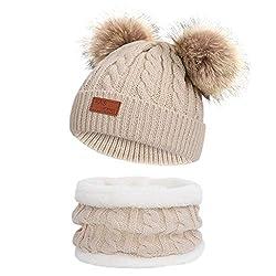 URSING Baby Strickmütze Kinder Mädchen Jungen Warme Stricken Hüte Mützen Wolle kappe Wintermütze Winterhüte Kindermütze Kopfbedeckung Bommelmütze Pudelmütze Häkelmütze (One size, Khaki)