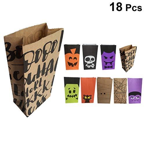 BESTOYARD 18 stücke Halloween Candy Taschen Cartoon Papier Geschenk Taschen für Kinder Taschen Halloween Party Supplies (Random Style) (Für Hausgemachte Halloween-dekoration Party)