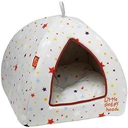Cómodo iglú para gatos con diseño de estrellas de colores