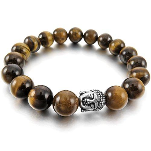 MunkiMix 10mm Lega Bracciale Polso Energia Stone Marrone Argento Buddha Preghiera di Mala Perline Donna,Uomo - Buddha Bead