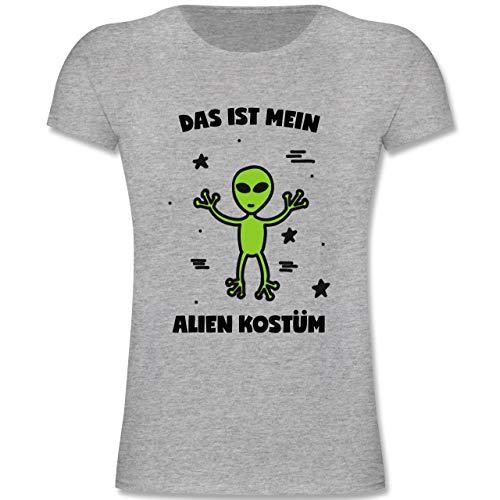 Karneval & Fasching Kinder - Das ist Mein Alien Kostüm - 140 (9-11 Jahre) - Grau meliert - F131K - Mädchen Kinder - Meine Mädchen Kostüm