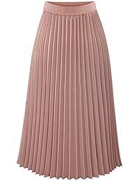 ESHOO Femmes Robes Longue Taille Elastique Jupe en Mousseline de Soie Plissé f9e444432471