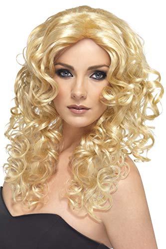 Smiffys, Damen Glamour Perücke mit Locken, One Size, Blond, ()