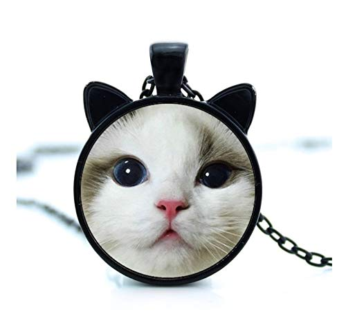 GUHUA Weiße Katze Halskette Süße Katze Gesicht Anhänger Katze Schmuck Glas Foto Cabochon Halskette (Mensch-katze-gesichter Für Halloween)