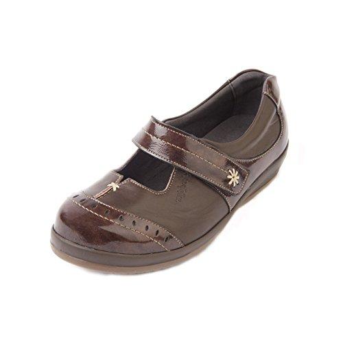Sandpiper , Chaussures de ville à lacets pour femme Patent Brown