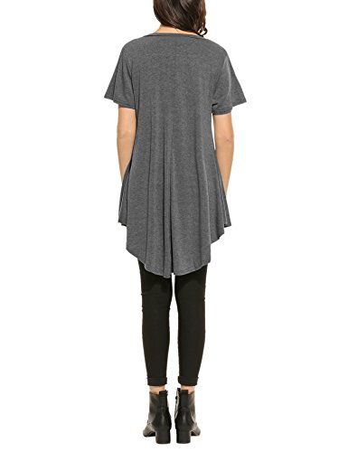 HOTOUCH Damen Kurzarmshirt Tunika Schlupfbluse Blusenshirt V-Ausschnitt Weich Stretch A-Linie Typ1-Grau