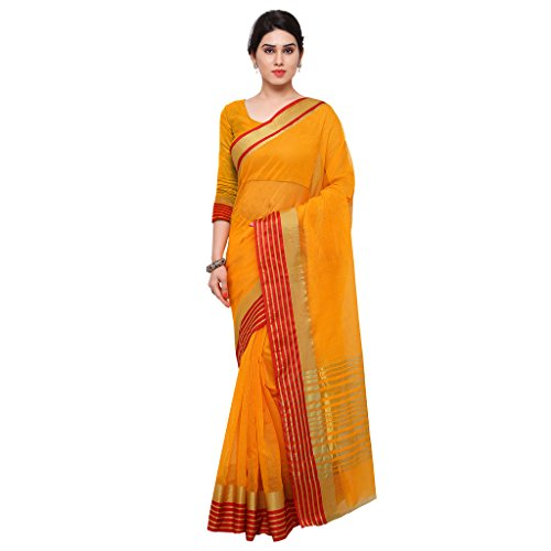 Applecreation Silk Cotton Saree (Sarees For Women's Party Wear-Rgo2010_Yellow)