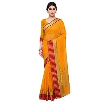 Applecreation Silk Cotton Saree (Sarees For Women's Party Wear-Rgo2010_Yellow)