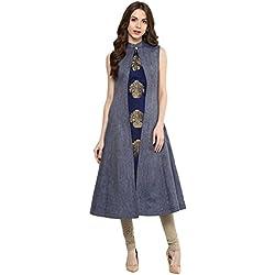 Aahwan Women's Blue Denim A-line Long Kurtis (XX-Large)