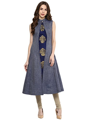Aahwan Women's Blue Denim A-line Long Kurti (XXX-Large, Blue)