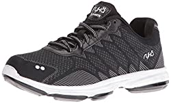 RYKA Womens Dominion Walking Shoe, Black/White, 9 W US