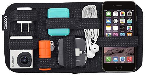 Cocoon GRID-IT - Taschen Organizer mit elastischen Bändern / Elektronik Zubehör / Organizer für Aktentasche / Multifunktionales Organisationssystem mit Reißverschluss & Schlaufe - Schwarz / 26x1x13cm
