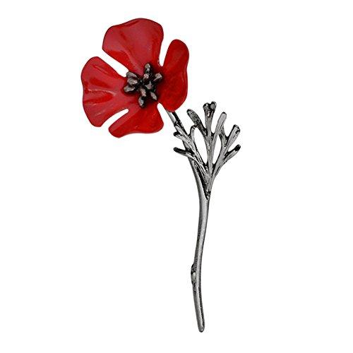 Nighteyes66 Poppy Flower Brooch Pin Women Men Vintage Collar Accessory Breastpin Jewelry