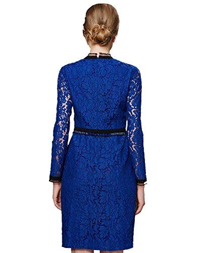 ASCHOEN Damen Spitzen Cocktailkleid Elegant Langarm Abendkleid Rundhals Schlanke Spitzenkleid Blau M Abbildung 3