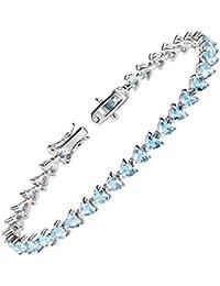 ca2a9ac2d399 Franki Baker Sterling Silver Pretty Heart Shaped Aquamarine Crystal Tennis…
