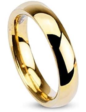 Paula & Fritz® Ring aus Edelstahl Chirurgenstahl 316L vergoldet Klassischer Ehering hochglanz poliert 4mm Breite...
