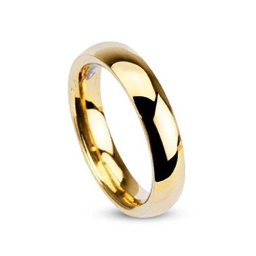 Paula & Fritz® Ring aus Edelstahl Chirurgenstahl 316L 4mm breit vergoldet Klas.