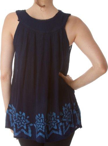 Sakkas Batik Bestickt mit V-Ausschnitt ärmellose Bluse Navy Blau