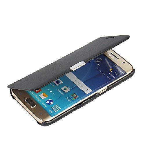 galaxy s6 edge cover MTRONX Samsung Galaxy S6 Edge Hülle, Case Cover Schutzhülle Tasche Etui Klapphülle Magnetisch Dünn Leder Folio Flip für Samsung Galaxy S6 Edge - Schwarz(MG-BK)