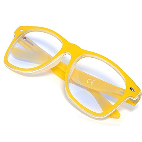Damen Herren Lesebrille +1.0 +1.5 +2.0 +2.5 +3.0 +3.5 +4.0 Blue Light Filter Brille Blendschutz, Kratzfestes Objektiv Computer TV Anti Glare MFAZ Morefaz Ltd (+2.5 Anti Glare, Yellow)