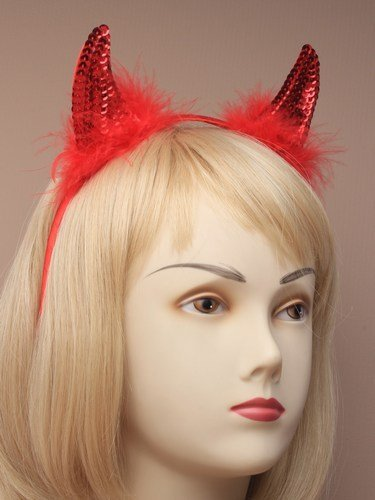 Red Sequin Devil Horns Fancy Dress Halloween Devil Dressing Up Hen Night by Allsorts Accessories
