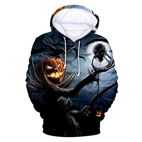 Writtian Herren Damen Unisex Cosplay Horror Schädel Geister Individualitäl Hoodie 3D Druck Pullover Sweatshirt Jacke Halloween Kostüm Bedruckte Tunnelzug Pullover Mit Taschen Sweatshirt