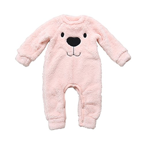 Wongfon Baby Winter Overall Mädchen Jungen Bär Strampler Jumpsuit Dickes Gefüttert Outfits Fleece-schlafanzug Baby