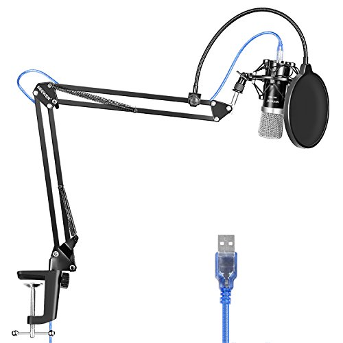 Neewer USB Micrófono para Windows y Mac con Soporte de Brazo de Tijer