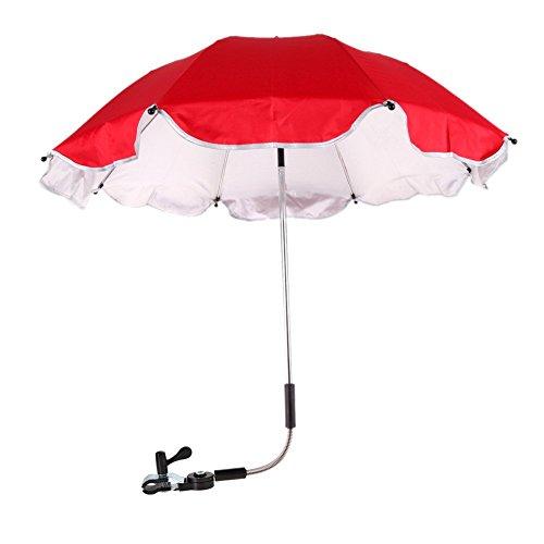 Demiawaking - ombrello universale e portatile per passeggino o carrozzina, offre protezione dai raggi uv, red, 37.5 cm umbrella radius