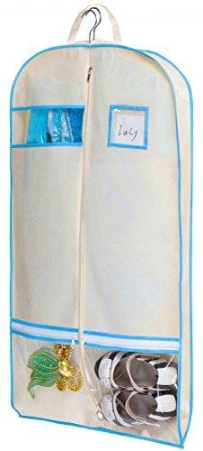 ersack, mit Reißverschluss-Taschen für Tanz, Kleid, Abdeckung, Textil, beige, 101,6 cm (40 zoll) (Tanz Kostüme Schrank)