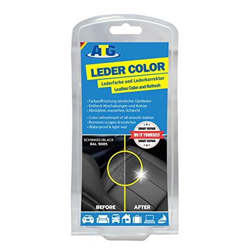 ATG Lederfarbe inkl. Schwamm - beseitigt Kratzer, Abschürfungen und Abnutzungen auf Leder und Kunstleder- Farbe schwarz -