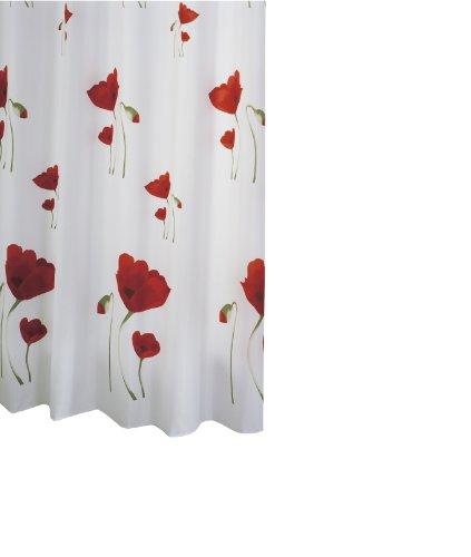 Ridder Duschvorhang Textil Mohn 180 cm x 200 cm inkl. Ringe