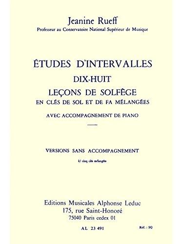ETUDES D'INTERVALLES 18 LECONS DE SOLFEGE 5 CLES VERSION B SANS ACCT