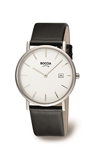 Boccia boy's quartz Watch with white Dial analogue Display and black leather Strap B3547-02