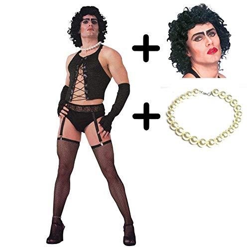 Frank Furter Kostüm Rocky Horror N - Adult Frank 'n' Furter Costume + Wig + Necklace STANDARD