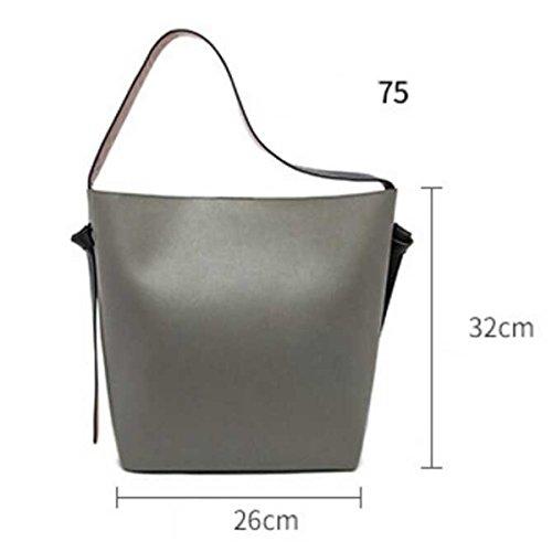 Frauen Große Kapazität Eimer Tasche Leder Einkaufstasche Umhängetasche F