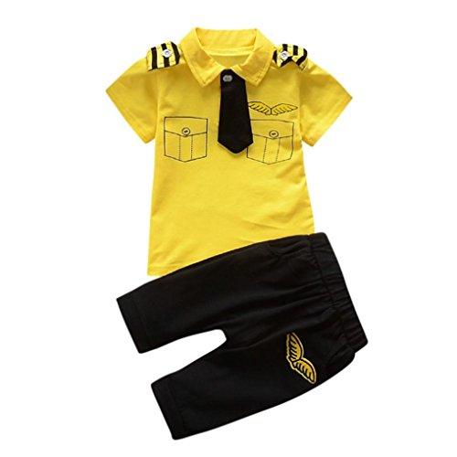 Manadlian Neugeborenes Säugling Baby Jungen Mädchen Gentleman Krawatte KurzÄrmel Umlegekragen Oberteile + Junge ModeFreizeit Hemd Hose 2 Stück Outfits (6M, Gelb) (Kurze Gelb Jungen)