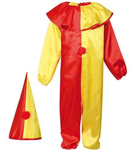 erkostüm Clown in rot-gelb Overall und Hut Hofnarr Harlekin Kasper Verkleidung (116) ()