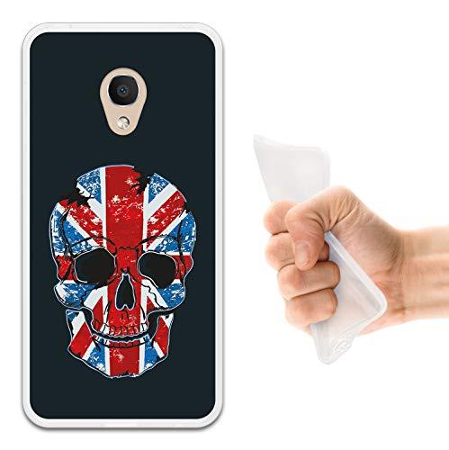 WoowCase Alcatel 1C DUAL SIM Hülle, Handyhülle Silikon für [ Alcatel 1C DUAL SIM ] Schädel & Flagge Englands Handytasche Handy Cover Case Schutzhülle Flexible TPU - Transparent