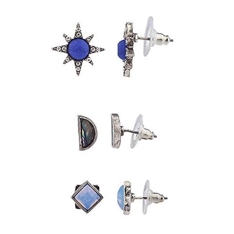 Lux Accessories Boho Blue Opal Abalone Shell Starburst Multi Earring Set (3PCS)