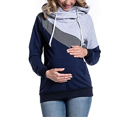 Hippolo Damen Stillshirt Umstandsmode Kapuzenpullover Farbabstimmung Still-Sweatshirt Kontrastdetails Stillen Lagendesign (XL, Hellgrau)