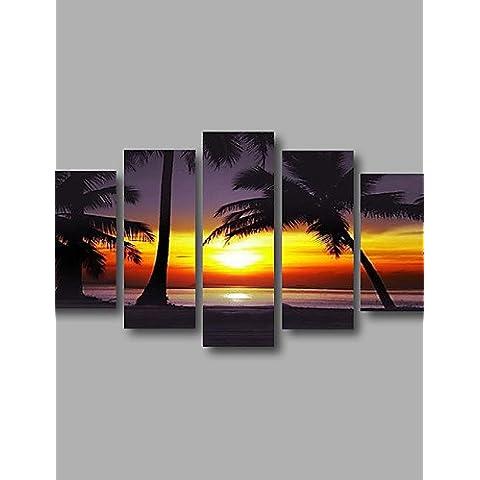 OFLADYH ® listo para colgar estiradas enmarcadas lienzo de pintura de la pared del arte del amanecer árboles de coco de mar al óleo pintada a
