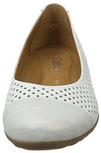 Gabor Damen Comfort Geschlossene Ballerinas Weiß (weiss/silber 51)