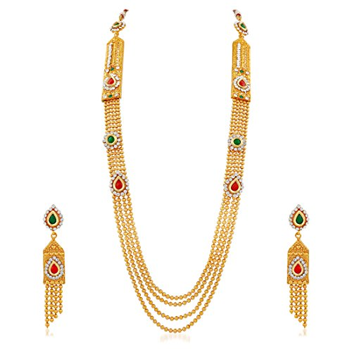 Apara Multistrand Red And Green Necklace Set With Austrian Diamond And Kundan For Women / Girls