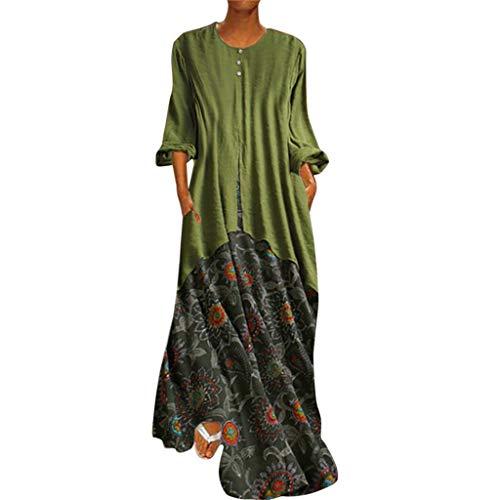 WhycatKleider für Hochzeitsgäste Frauen Vintage Retro Gedruckte Kleider Oansatz Lange Kleider Sommerfestkleid
